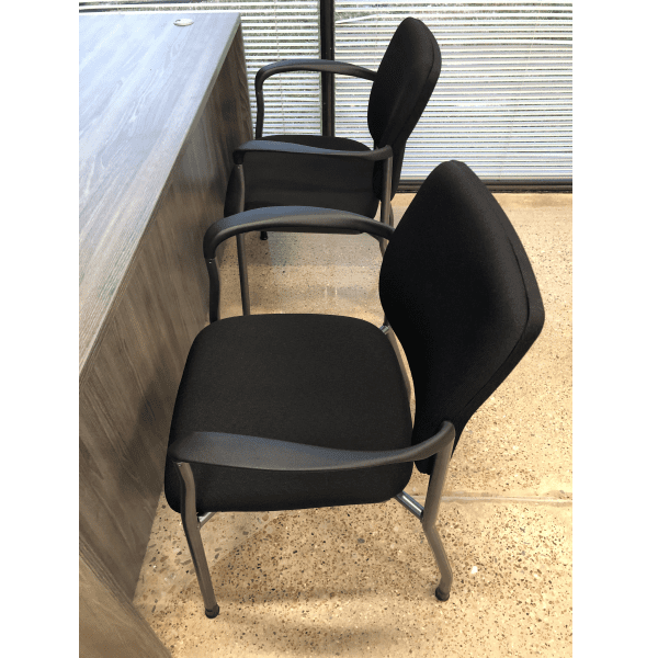 2904 Guest Chairs Black Fabric - Titanium - Side