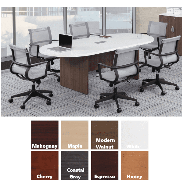8 Boat Shape Conference Table with Panel Legs and Modesty Support - White Top with Walnut Base - 8 Colors
