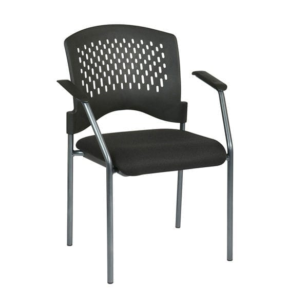 8610-30 Visitors Chair with Arms and Ventilated Plastic Wrap Around Back
