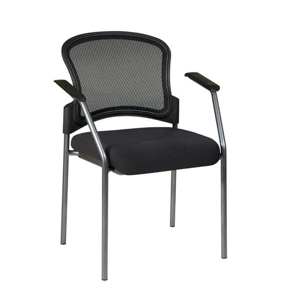 86710-30 M-Flo Contour Back Titanium Finish Visitors Chair with Arms