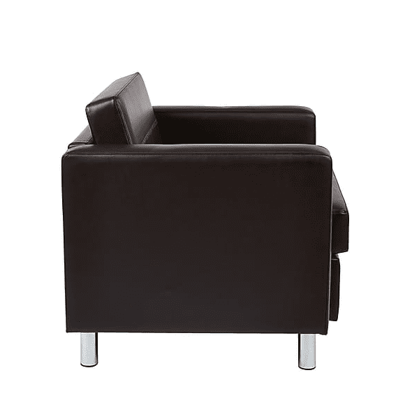 Panda Modern Espresso Club Chair with Round Chrome Accent Legs - Side