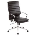 OFD-590C Ribbed Back Faux Leather High Back Chair with Chrome Loop Arms