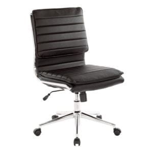 Ribbed Back Faux Leather Armless Chair