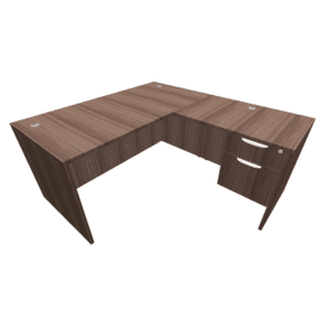 60 x 66 Single Pedestal L Shape Desk - Walnut - BF