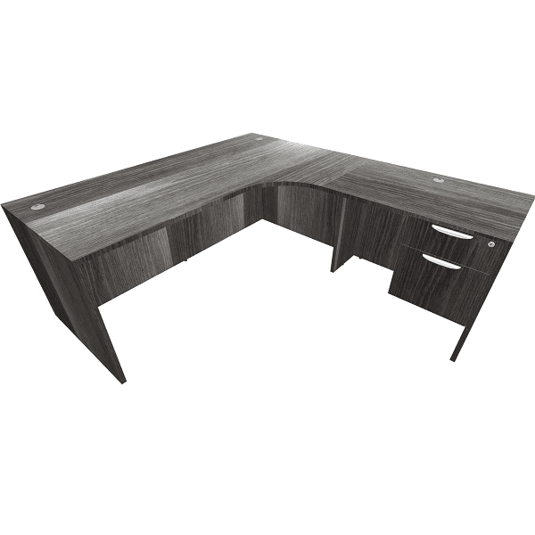 71 x 78 Single Pedestal L Shape Desk - Interior Curve - Newport Gray - BF
