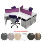 120-Degree 3-Pack Workstations - White - Purple Privacy Screens