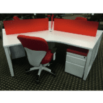 120-Degree 3-Pack Workstations - White - Red Privacy Screens