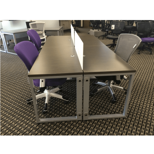 2x2 4-Pack Workstations Wenge Strand - Silver - White Dividers Side - Copy