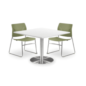 "36"" or 42"" square table with round base. Available in 8 finish colors."