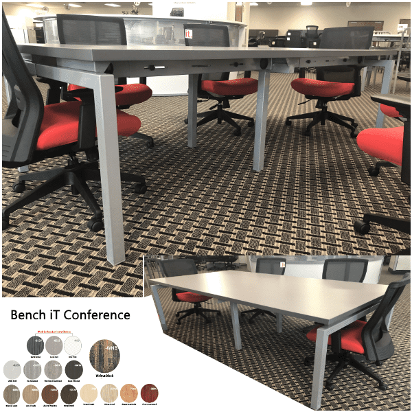 Bench iT 8' Conference Table Sarum Twill Finish Silver Leg Base