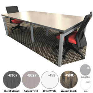 Modern Rectangular Conference Table with Open Steel Bases