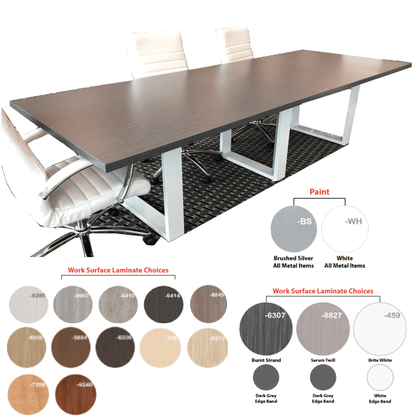 Connect iT 10' or 12' Rectangular Conference Table - 3 Stocked Colors - 13 Made to Order Laminates