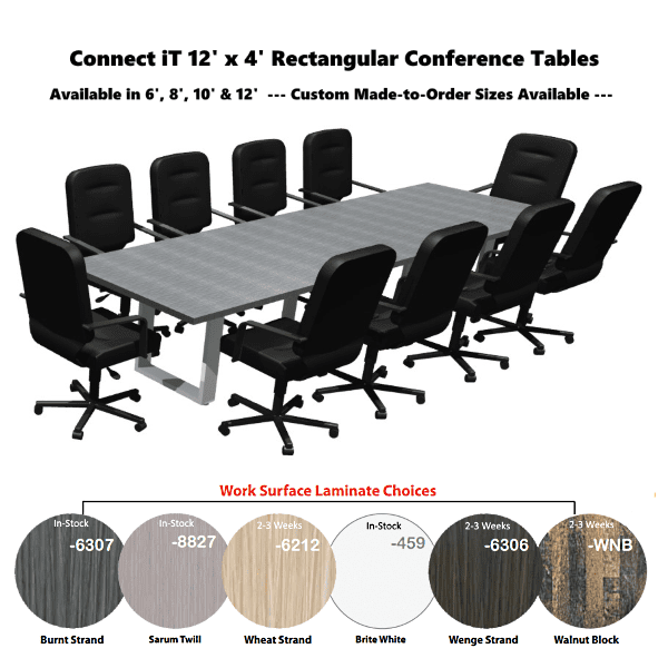 Connect iT Conference Tables - Burnt Strand Finish & Silver Base