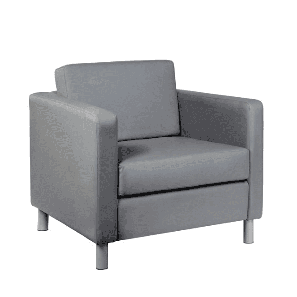 Contemporary Leather Club Chair - Gray