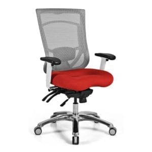 Designer White Frame Light Grey Mesh Back Task Chair - Red Fabric Seat