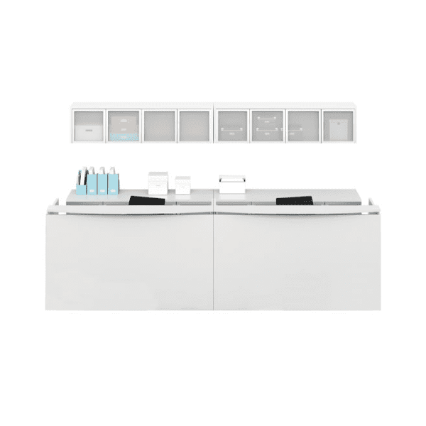 Modern Two-Tone Dual Floating Top Reception Desks. White.
