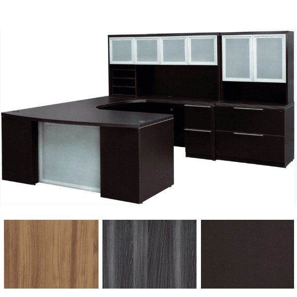 Express Office Furniture - Status Bow Front U-Shape Desk - Curved Bridge - Glass Modesty - Dark Walnut - Right Handed - Glass Doors Storage Hutch