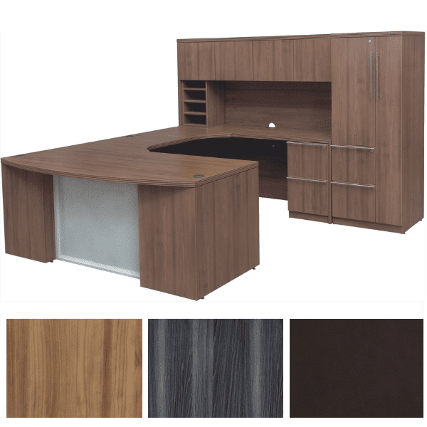 Express Office Furniture - Status Bow Front U-Shape Desk - Curved Bridge - Glass Modesty - Modern Walnut - Right Handed - Laminate Woodgrain Doors Storage Hutch