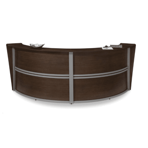 Large Two-Person Curved Walnut Reception Desk - Walnut