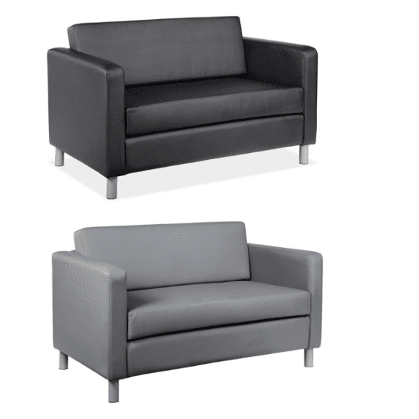 Contemporary Leather Loveseat - 2 Colors | Reception Furniture Dallas