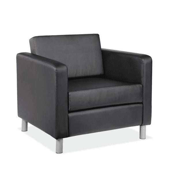 Modern Leather Club Chair - Black