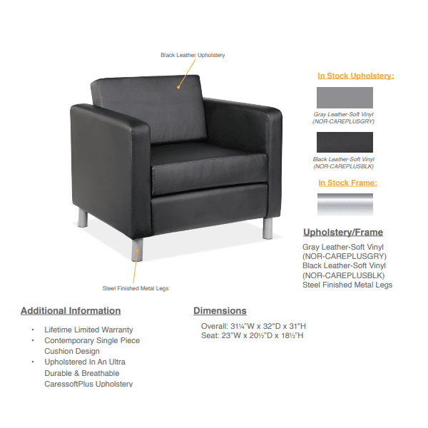 Modern Leather Club Chair - Black - Specifications