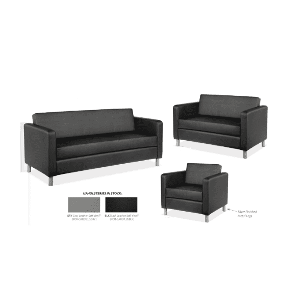 Modern Leather Lounge Seating Group - Black