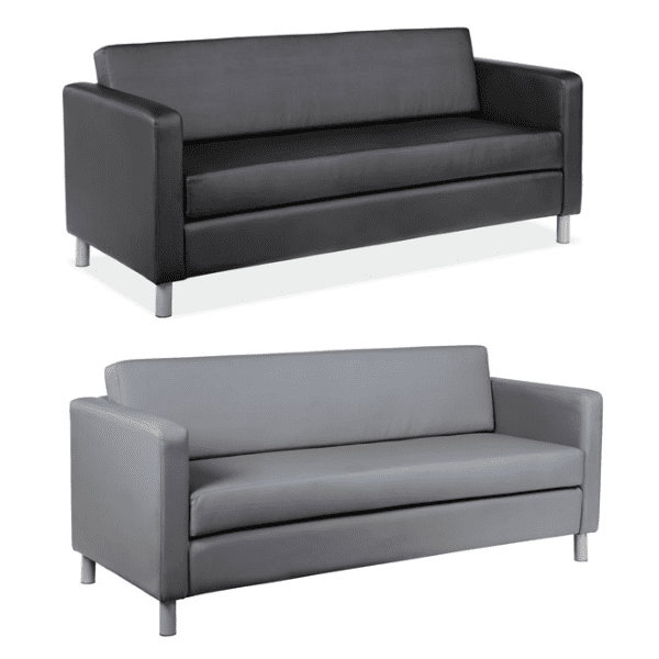 Contemporary Leather Sofa - 2 Colors | Reception Furniture Dallas