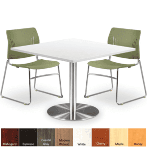 Square Laminate Cafe Table with Round Platform Silver Base