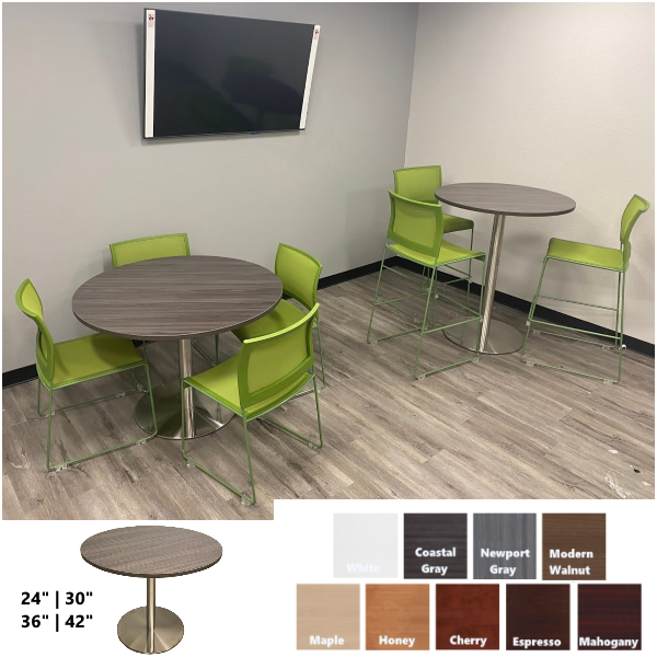 Office Source PL Round Break Room Cafe Tables