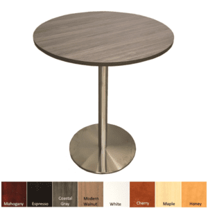 Break Room Bar Height Round Table with Silver Platform Base