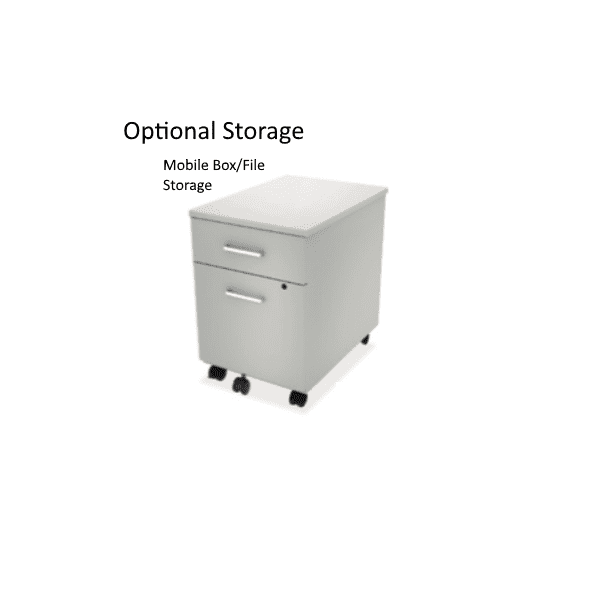 Optional Mobile Box File Storage Pedestal - White