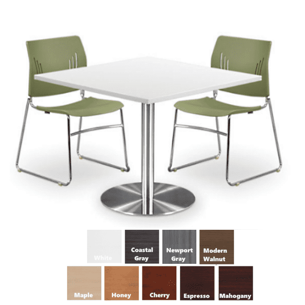 PL Square Table with Round Platform Base - 9 Finish Colors - Anderson Worth Office Furniture