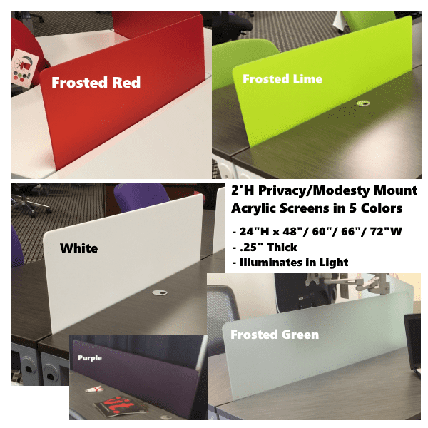 Privacy Modesty Acrylic Screens - 5 Colors