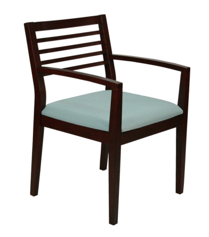 SPOT-2 Wood Frame Guest Chair in Made to Order Grade B Fabric Left
