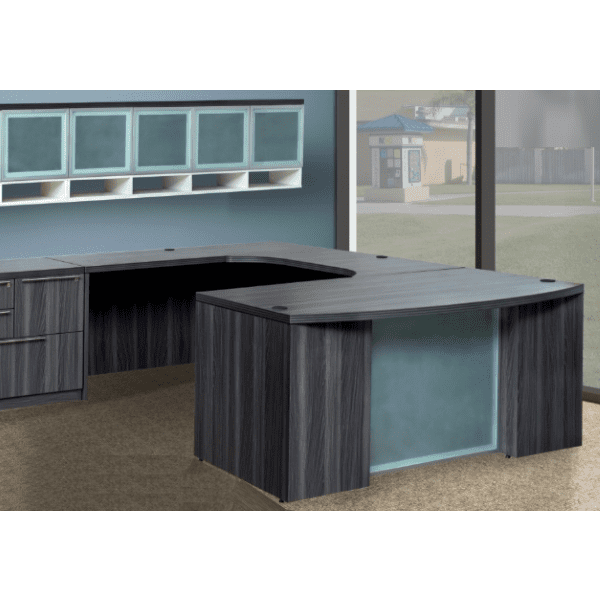 Status Bow Front U Shape Desk with Glass Modesty in Grey