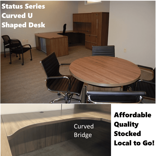 Status Series U-Shape Desk Walnut Room Setting Curved Bridge