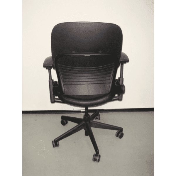 Steelcase Leap V2 Chair in Black Leather - Rear View