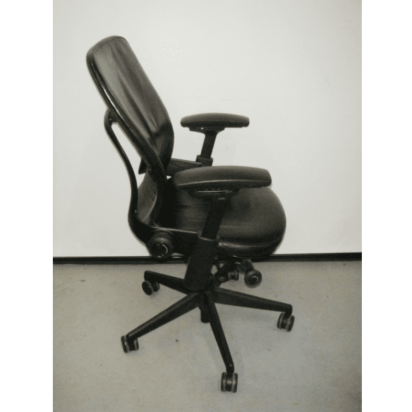 Steelcase Leap V2 Chair in Black Leather - Right Side