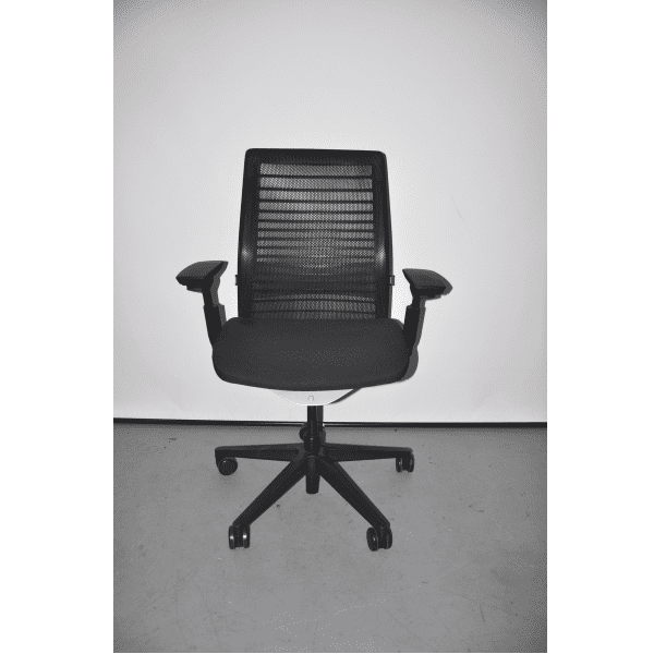 Used Steelcase Think Chair - Black Mesh Back & Black Seat + Black Bars