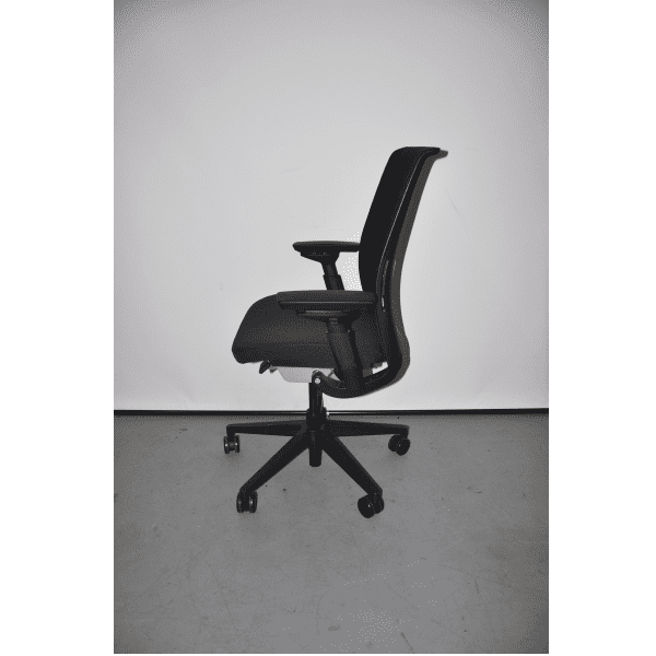 Used Steelcase Think Chair - Black Mesh Back & Black Seat + Black Bars - side view