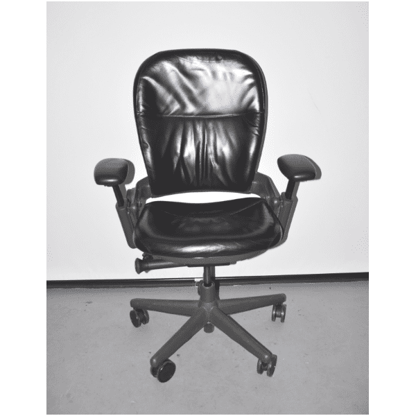 Used Steelcase Black Leap Chair in Leather - Charcoal