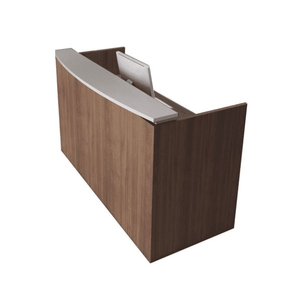 Modern Two-Tone Floating Top Reception Desk. Walnut and White.