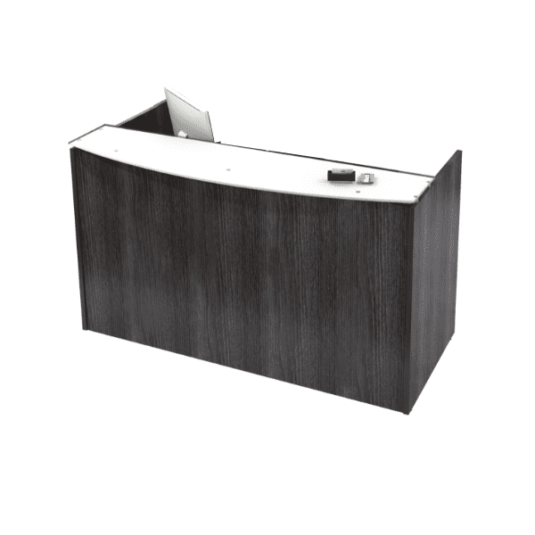 Modern Two-Tone Floating Top Reception Desk. Grey and White.