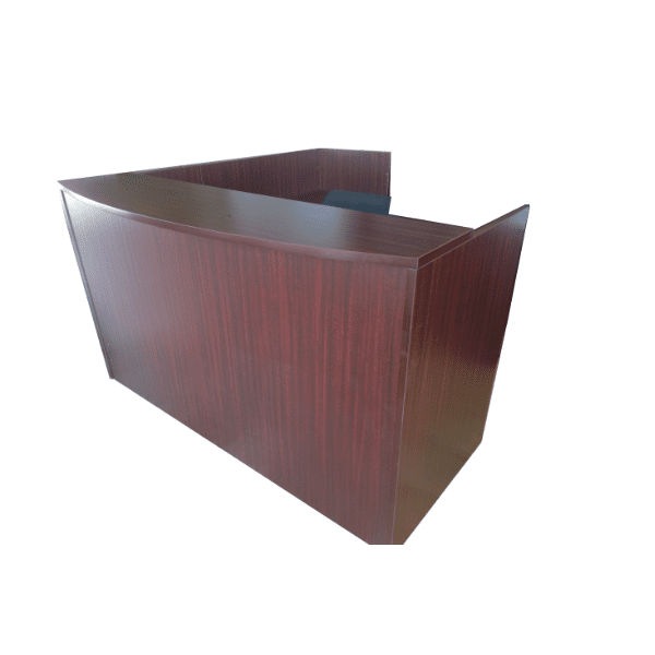 L-Shaped Mahogany Reception Desk Shell. No storage.