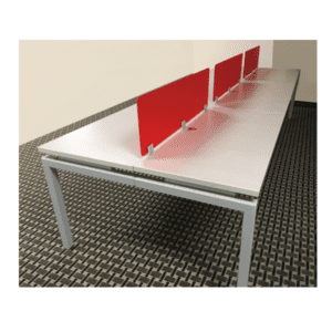 Bench iT 12' x 4' Benching Desking Station - Silver - Top Mount Frosted Red Acrylic Screens - Brite White
