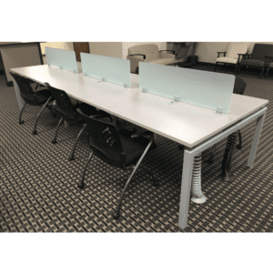 Bench iT Top Mount 6-Person Workstation - Silver - Frosted Glass Screens