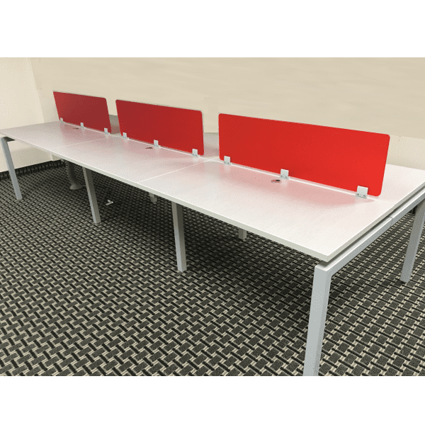 Bench It Top Mount 6 Person Workstation Silver Frosted Red Acrylic