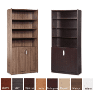 Bookcases with Doors - Walnut & Espresso - PL Laminate