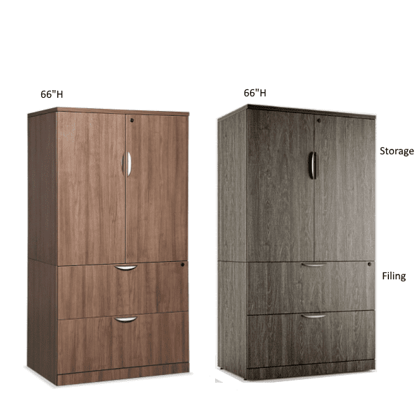 Combination Lateral File Storage Cabinet - Grey & Walnut